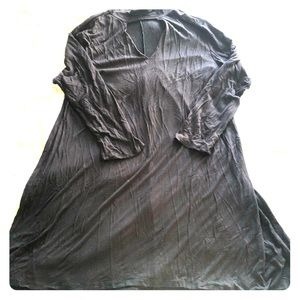 Black Long Sleeve V Neck Choker Style Tent Dress